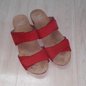 Dansko  leather slip on sandals  sz 7